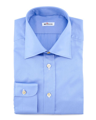 Solid Basic Dress Shirt, Blue