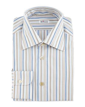 Multi-Stripe Dress Shirt, Blue/Brown