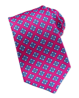 Floral-Print Grenadine Tie, Fuchsia