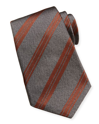 Striped Woven Tie, Gray
