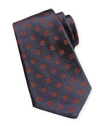 Neat Square Silk Tie, Blue