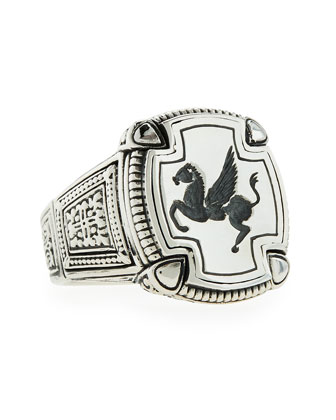 Men's Pegasus Square Ring, Size 10