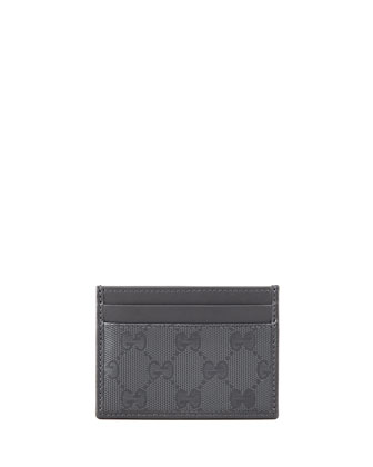 GG Imprime Leather Card Case, Gray