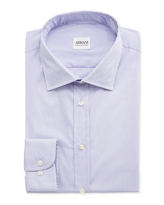 Micro-Striped Dress Shirt, Lavender/White