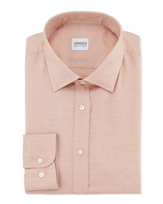Textured Solid Dress Shirt, Orange
