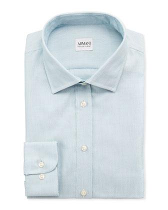 Textured Modern-Fit Dress Shirt, Aqua
