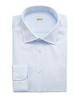 Double-Track Stripe Dress Shirt, Light Blue