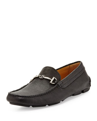 Pebbled Leather Driver, Black