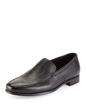 Lizard-Embossed Leather Loafer