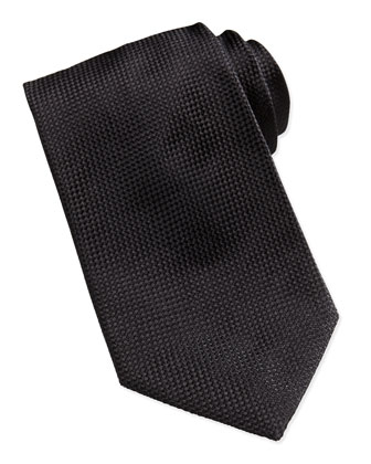 Solid Textured Silk Tie, Black