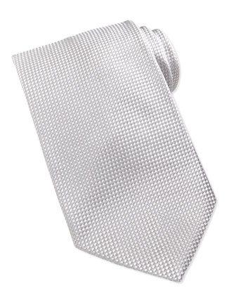 Formal Textured Silk Tie, Silver