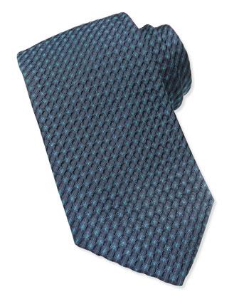 Textured Diagonal-Pinstripe Tie, Teal