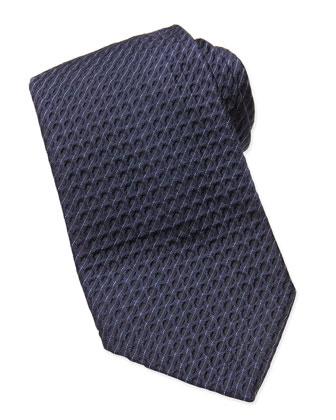 Textured Diagonal-Pinstripe Tie, Navy