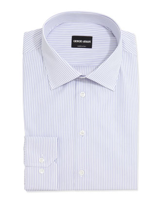 Mini-Stripe Cotton Dress Shirt, Lavender/White