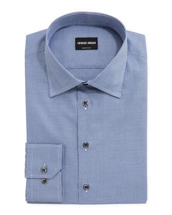 Textured Micro-Houndstooth Dress Shirt, Navy