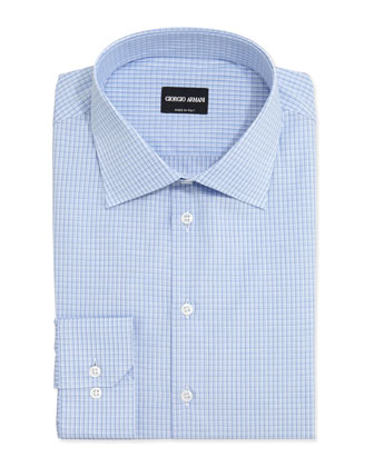 Shadow-Check Cotton Dress Shirt, Light Blue