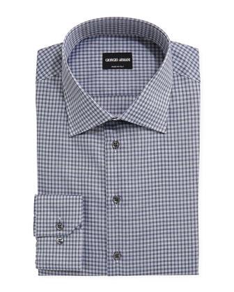 Textured Check Dress Shirt, Midnight/White