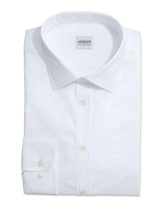 Tonal Textured Stripe Dress Shirt, White