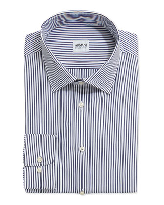 Bengal-Stripe Woven Dress Shirt, Navy/White
