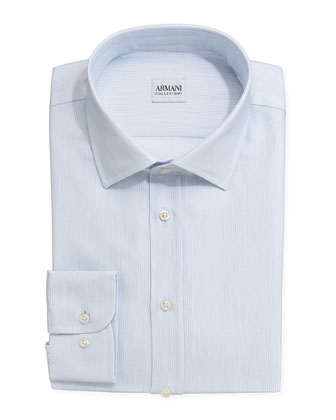 Textured Tonal Striped Dress Shirt, Blue/White