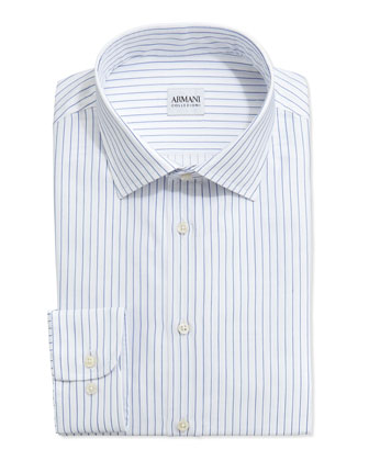 Pinstripe Dress Shirt, Royal/White