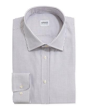 Textured Striped Dress Shirt, Gray