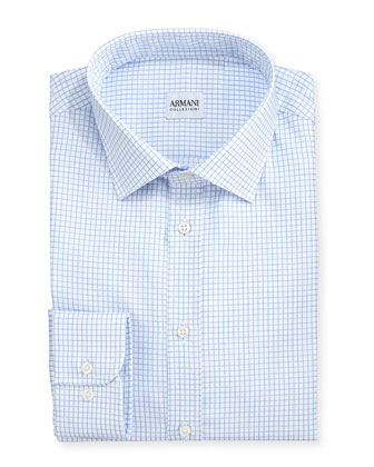 Blue-On-White Graph Check Shirt