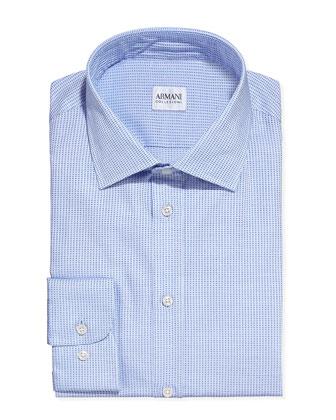 Textured Tickweave Dress Shirt, Light Blue