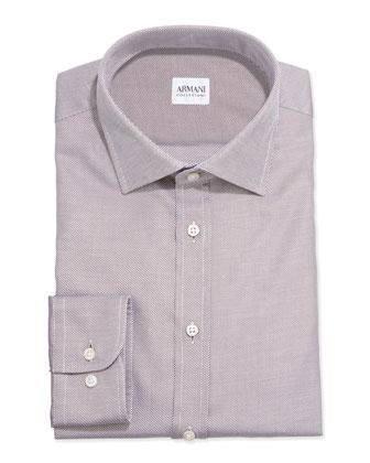 Tonal Textured Twill Dress Shirt, Brown