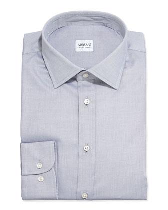 Tonal Textured Oxford Dress Shirt, Light Gray