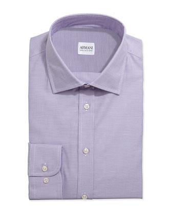 Tonal Basketweave Dress Shirt, Lavender