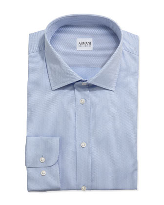 Tonal Tick-Weave Dress Shirt, Lt. Blue