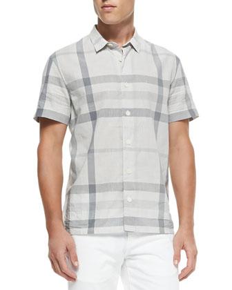 Short-Sleeve Check Poplin Shirt, Gray