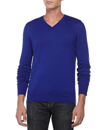 V-Neck Sweater W/ Check Shoulders