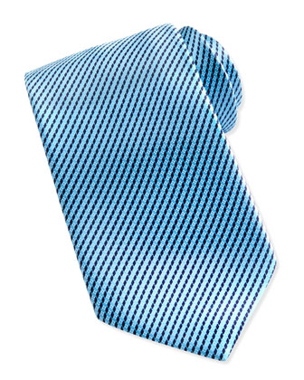 Printed Micro-Neat Silk Tie, Aqua