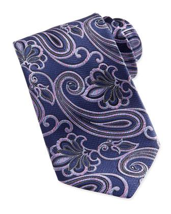 Woven Rainbow-Paisley Silk Tie, Navy