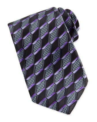 3-D Slanted Diamond Silk Tie, Charcoal