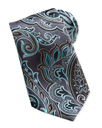 Woven Paisley Silk Tie, Black