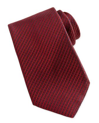 Woven Textured Silk Tie, Red/Navy