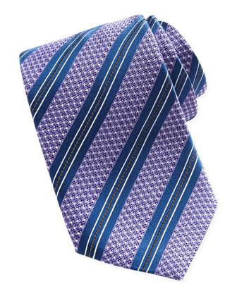 Textured Striped Silk Tie, Purple