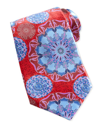 Large-Floral-Print Silk Tie, Red