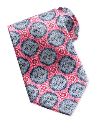 Printed Fancy Circle Medallion Silk Tie, Pink