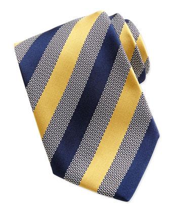 Woven Alternating Satin Striped Tie, Yellow