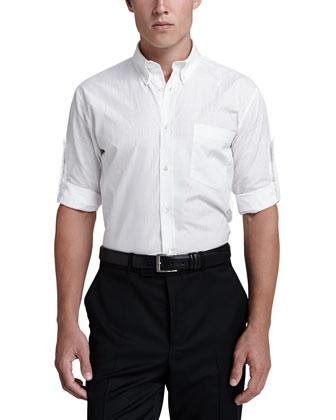 Tonal-Skull Tab-Sleeve Shirt