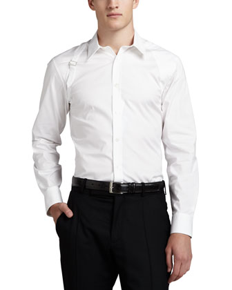 Stretch-Poplin Harness Shirt, White