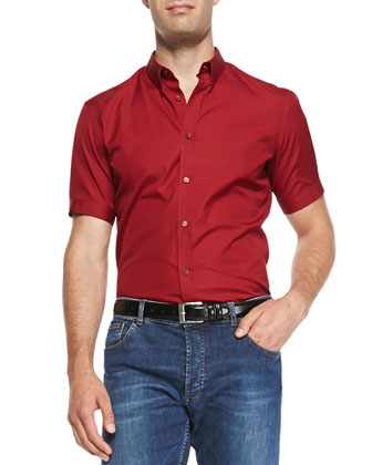 Short-Sleeve Poplin Shirt, Red