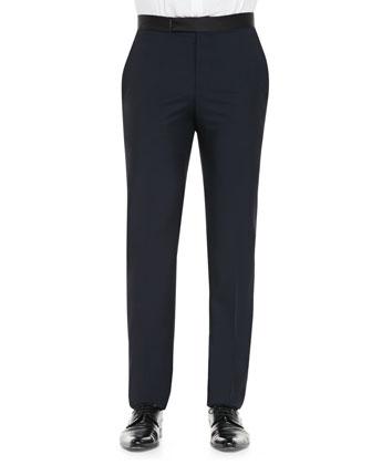 Contrast Faille-Waistband Tuxedo Pants, Navy