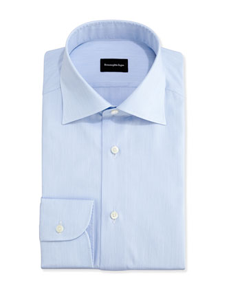 Micro-Stripe Textured Dress Shirt, Light Blue