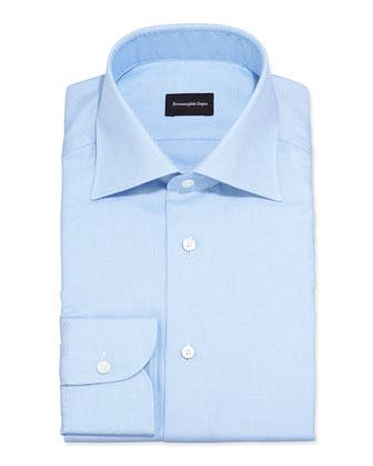 Textured Solid Dress Shirt, Blue