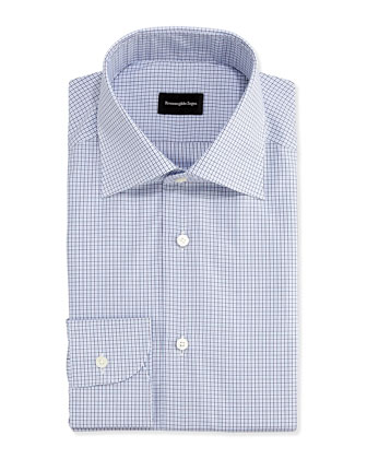 Graph-Check Dress Shirt, Light Blue/Navy